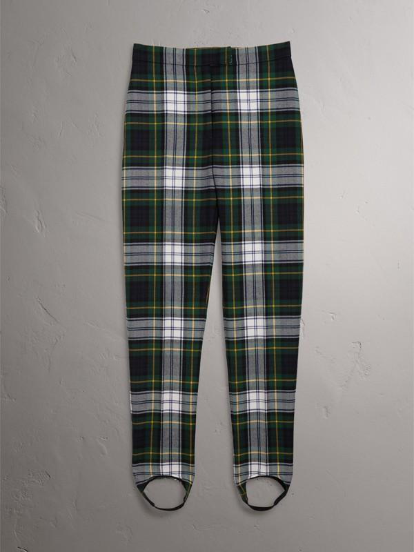 Fuseaux in lana a vita alta con motivo tartan (Blu Inchiostro) - Donna | Burberry - cell image 3