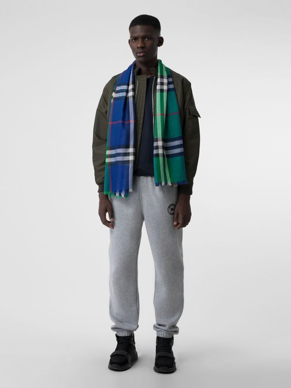 Colour Block Check Wool Silk Scarf in Teal | Burberry - cell image 3