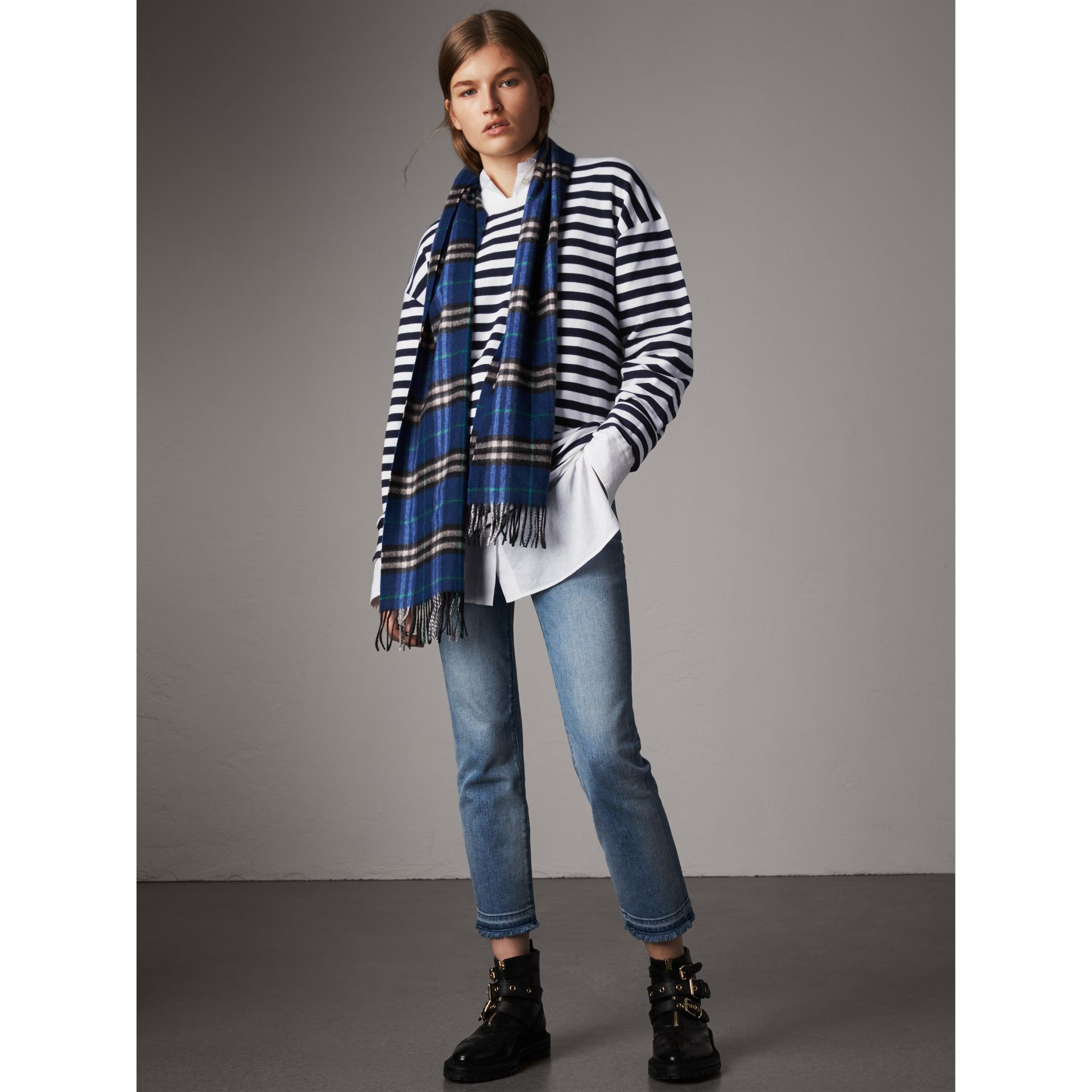 Breton Stripe Merino Wool Silk Blend Top in Navy - Women | Burberry - gallery image 0
