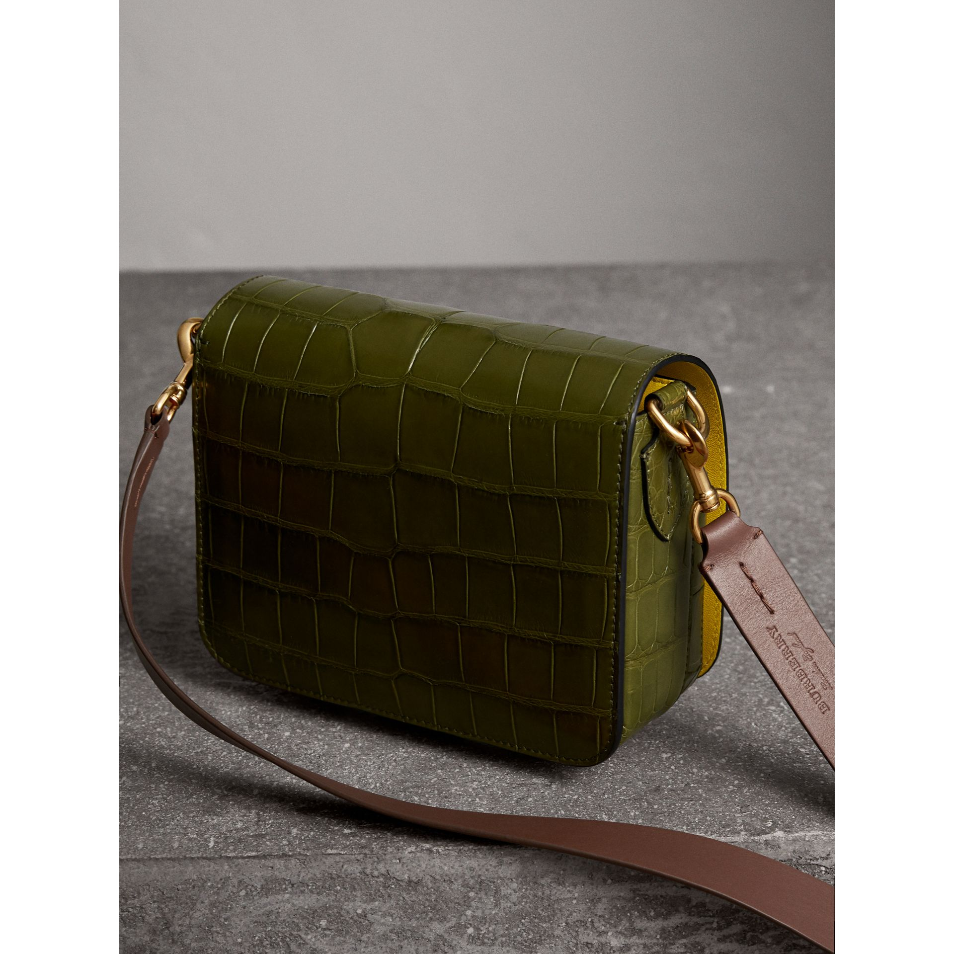 The Square Satchel in Alligator in Dark Antique Green - Women | Burberry Australia - gallery image 3