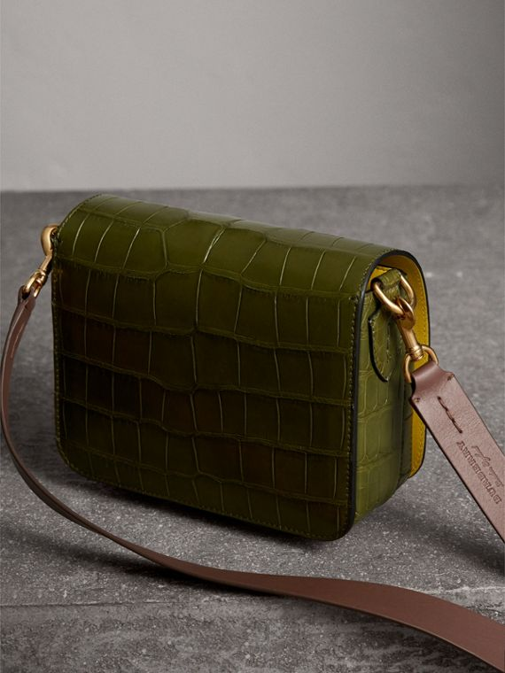 The Square Satchel in Alligator in Dark Antique Green - Women | Burberry United States - cell image 3