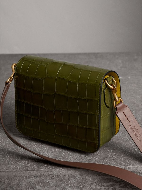 The Square Satchel in Alligator in Dark Antique Green - Women | Burberry Australia - cell image 3