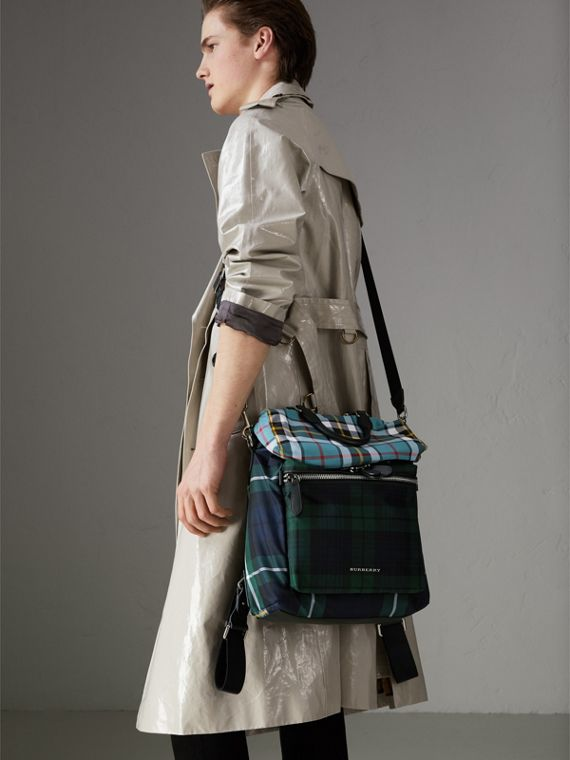 Zip-top Leather Trim Tartan Backpack in Forest Green - Men | Burberry Singapore - cell image 3