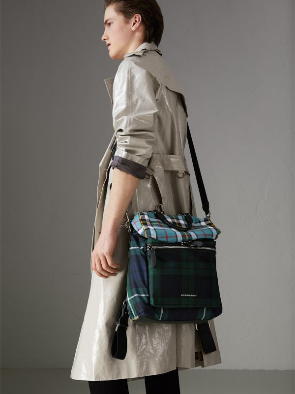 Zip-top Leather Trim Tartan Backpack in Forest Green - Men | Burberry - cell image 3