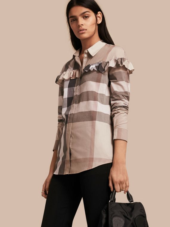 Check Cotton Frill Detail Shirt Pale Stone