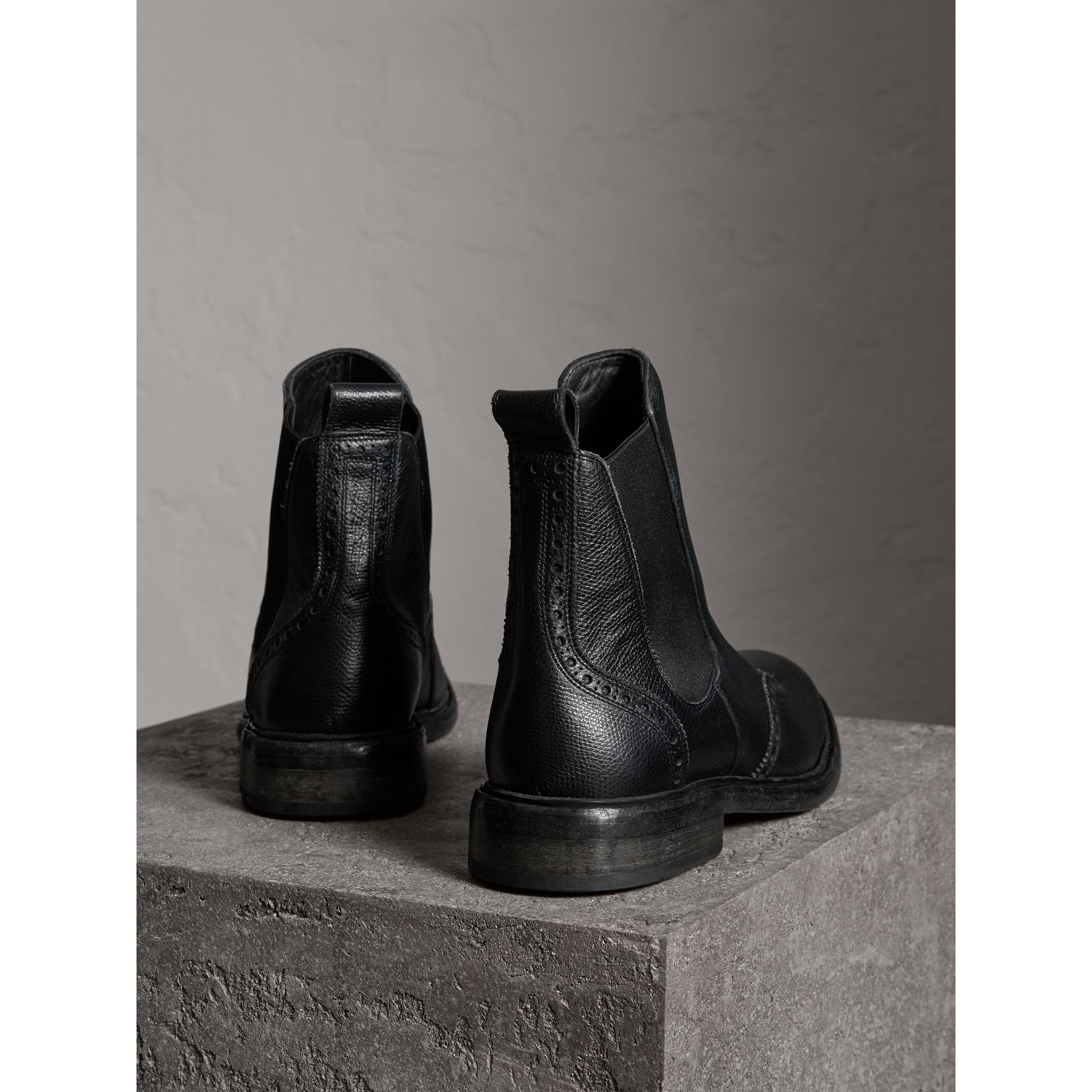 Brogue Detail Polished Leather Chelsea Boots in Black - Men | Burberry United States - gallery image 3