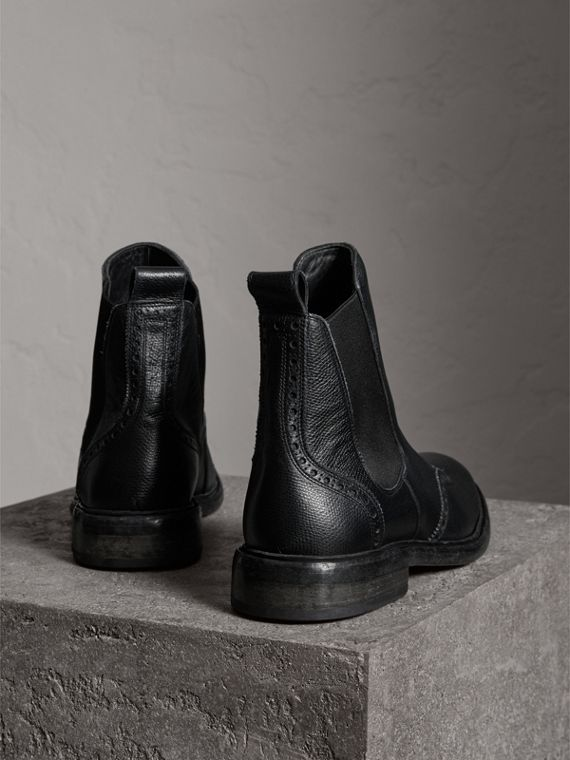 Brogue Detail Polished Leather Chelsea Boots in Black - Men | Burberry Australia - cell image 3
