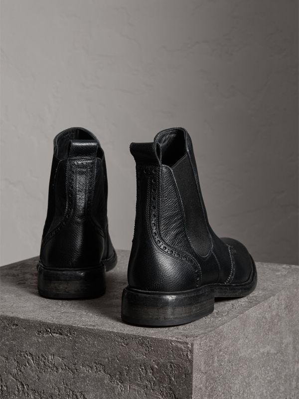 Brogue Detail Polished Leather Chelsea Boots in Black - Men | Burberry - cell image 3