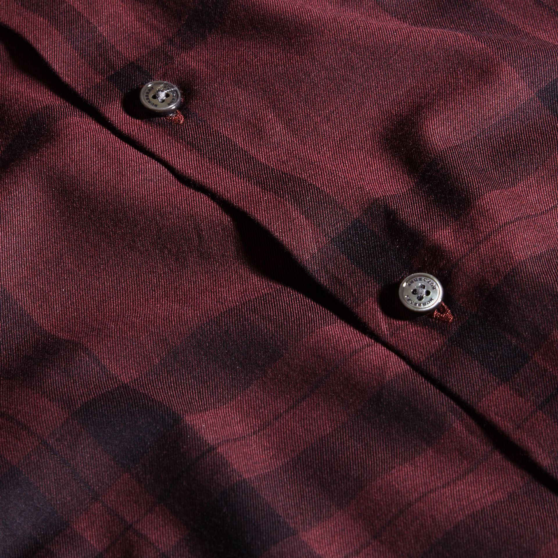 Deep burgundy Check Cotton Flannel Shirt Deep Burgundy - gallery image 2