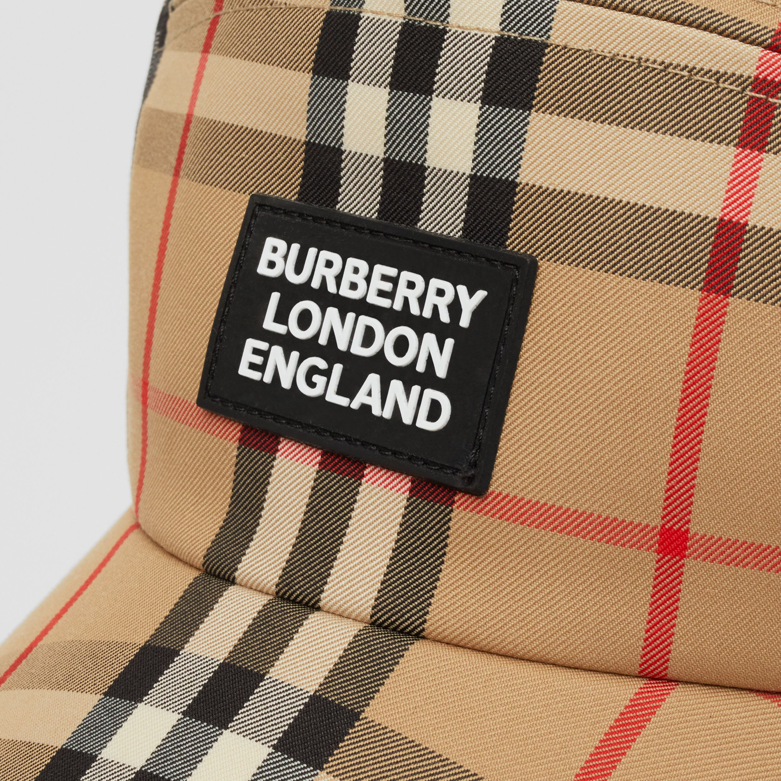 Logo Appliqué Vintage Check Bonnet Cap in Archive Beige | Burberry Singapore - 2