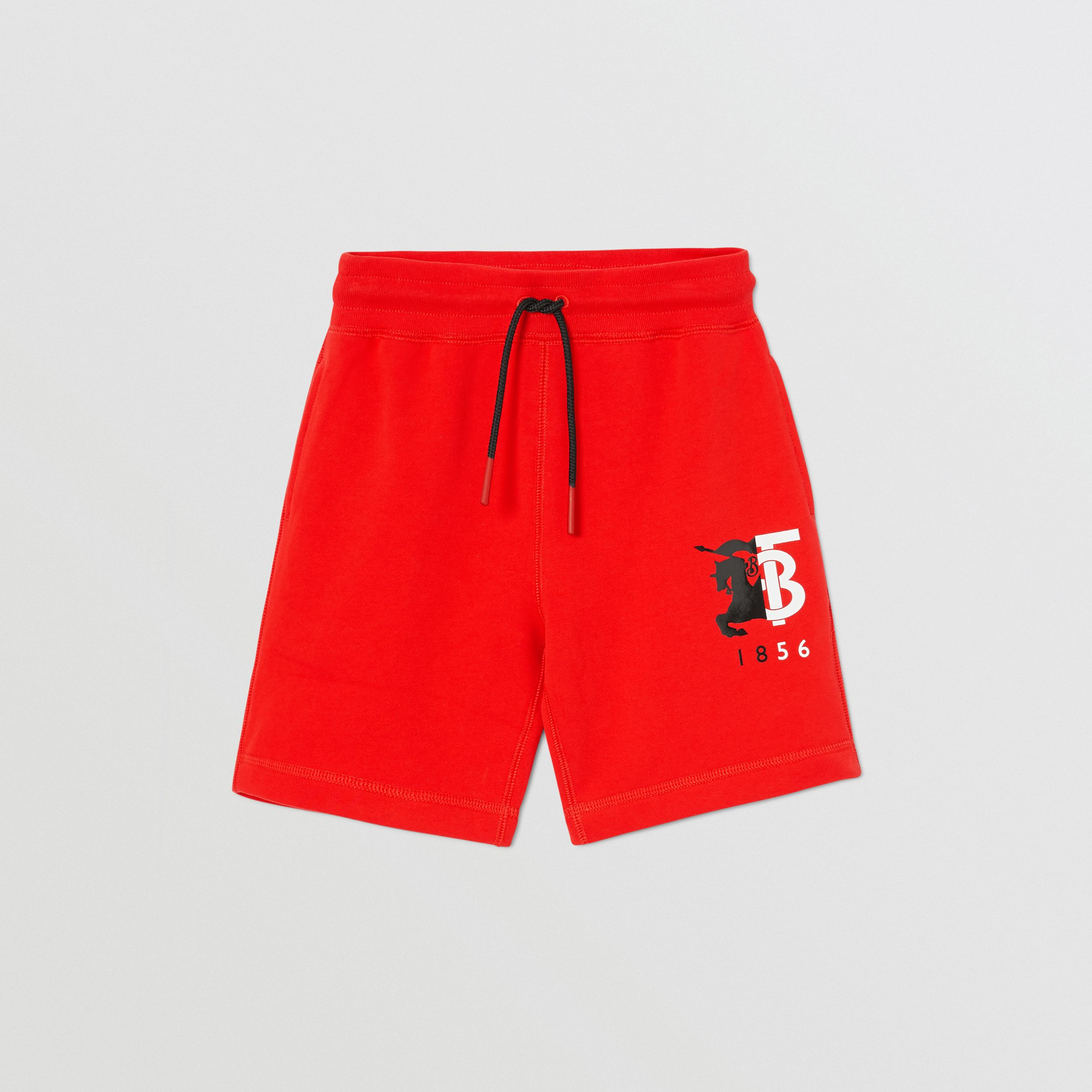 Contrast Logo Graphic Cotton Drawcord Shorts in Bright Red | Burberry - 1