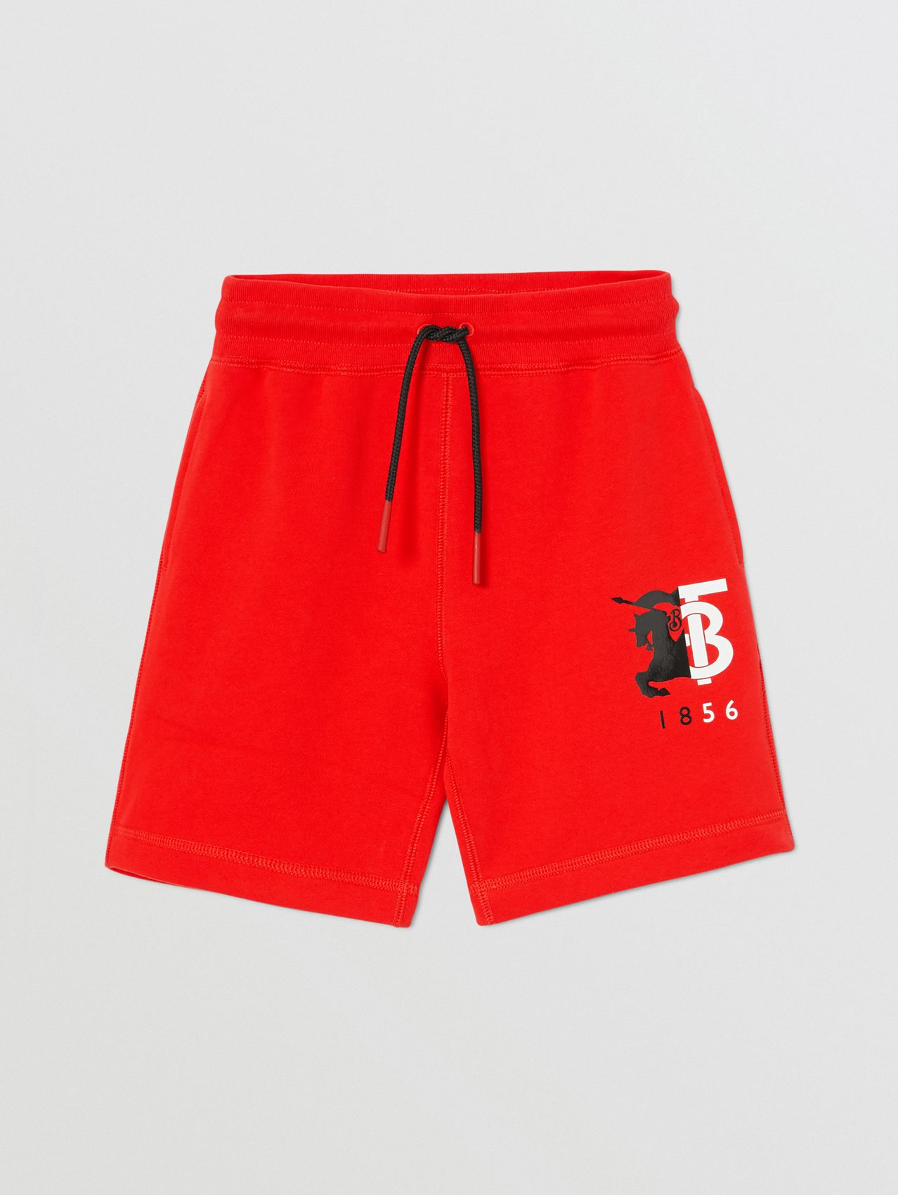 Contrast Logo Graphic Cotton Drawcord Shorts (Bright Red)