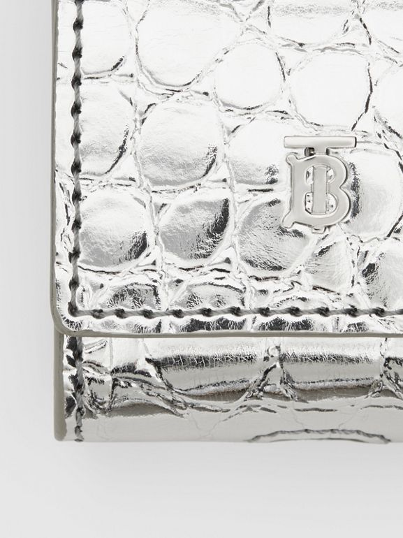 Metallic Embossed Earphone Case in Silver | Burberry United Kingdom - cell image 1
