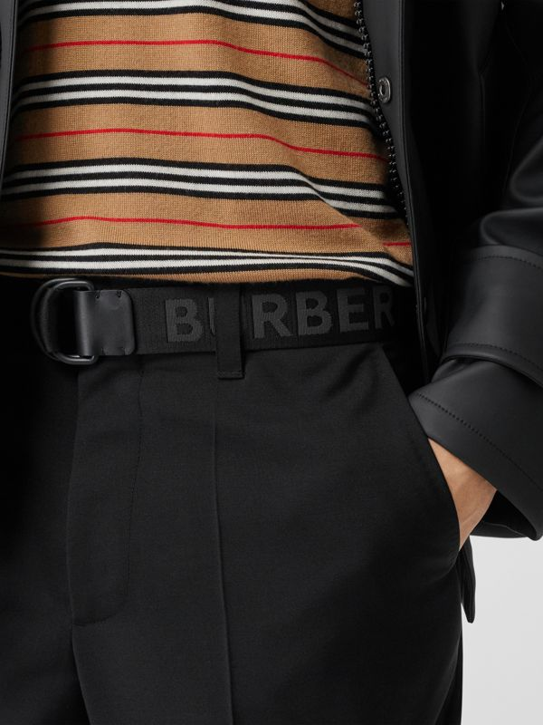 Logo Detail Double D-ring Belt in Black - Men | Burberry - cell image 2