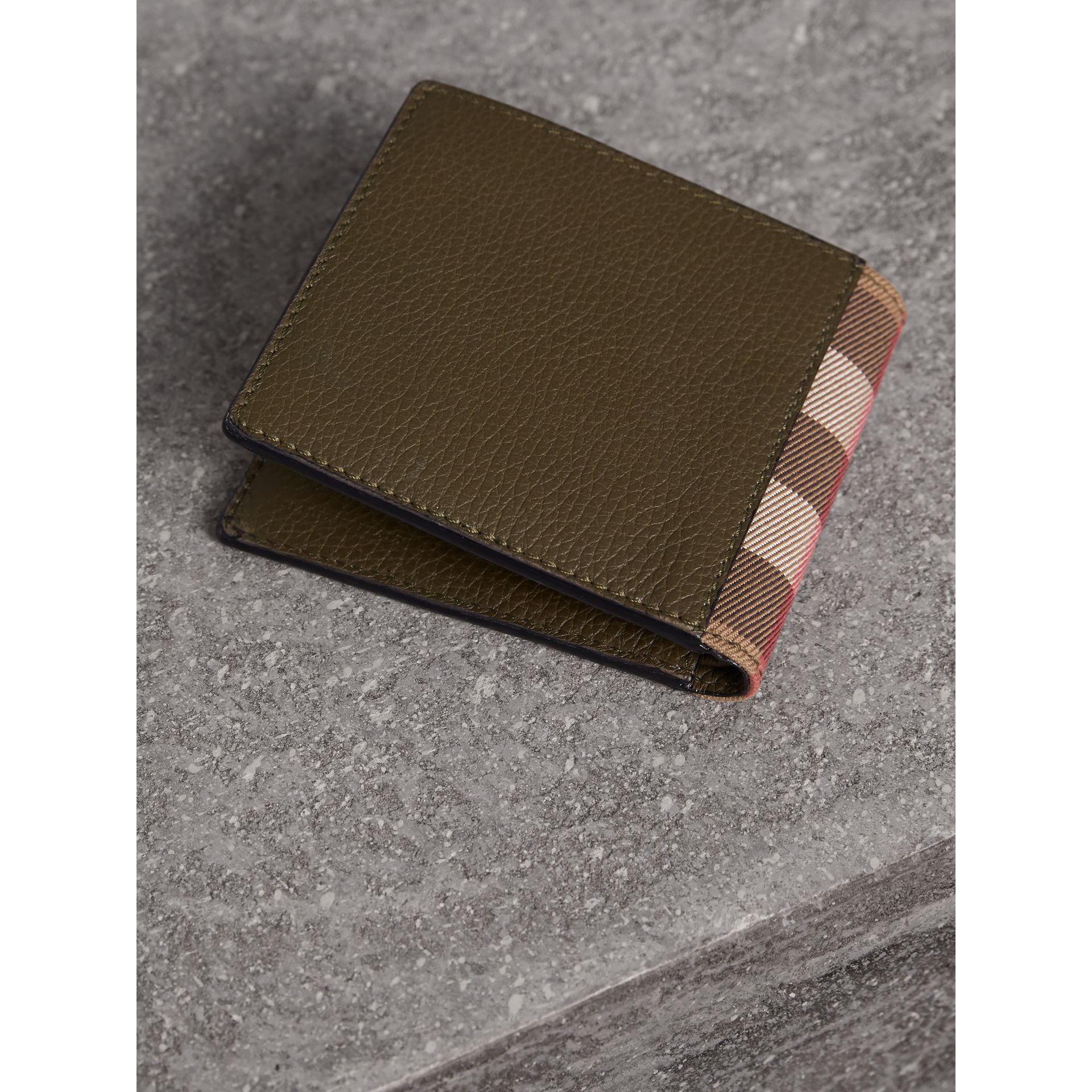 Leather and House Check International Bifold Wallet in Sage - Men | Burberry - gallery image 2
