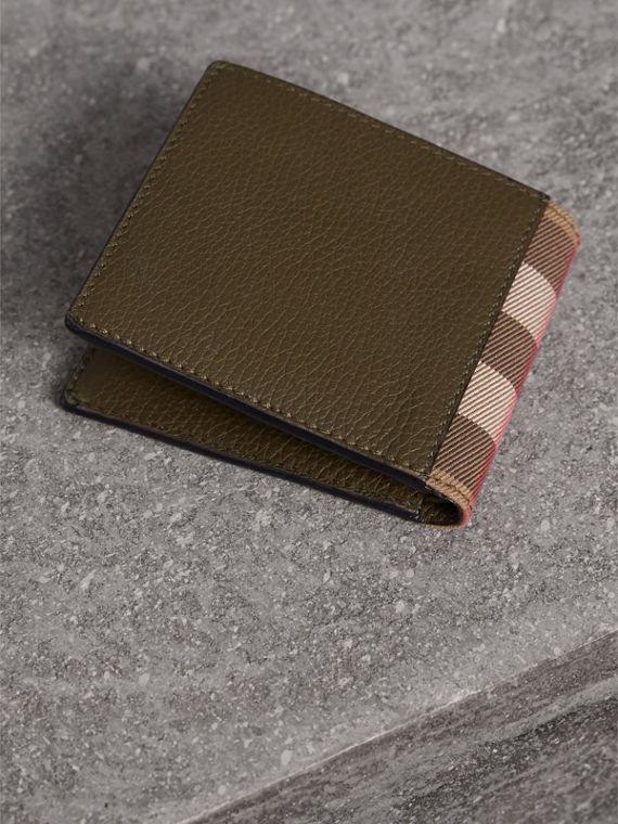 Leather and House Check International Bifold Wallet in Sage - Men | Burberry - cell image 2