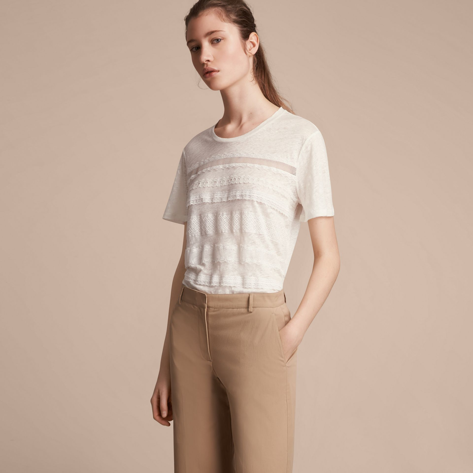 Lace Detail Linen T-shirt - Women | Burberry - gallery image 6
