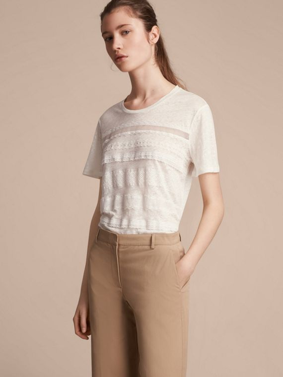 Lace Detail Linen T-shirt