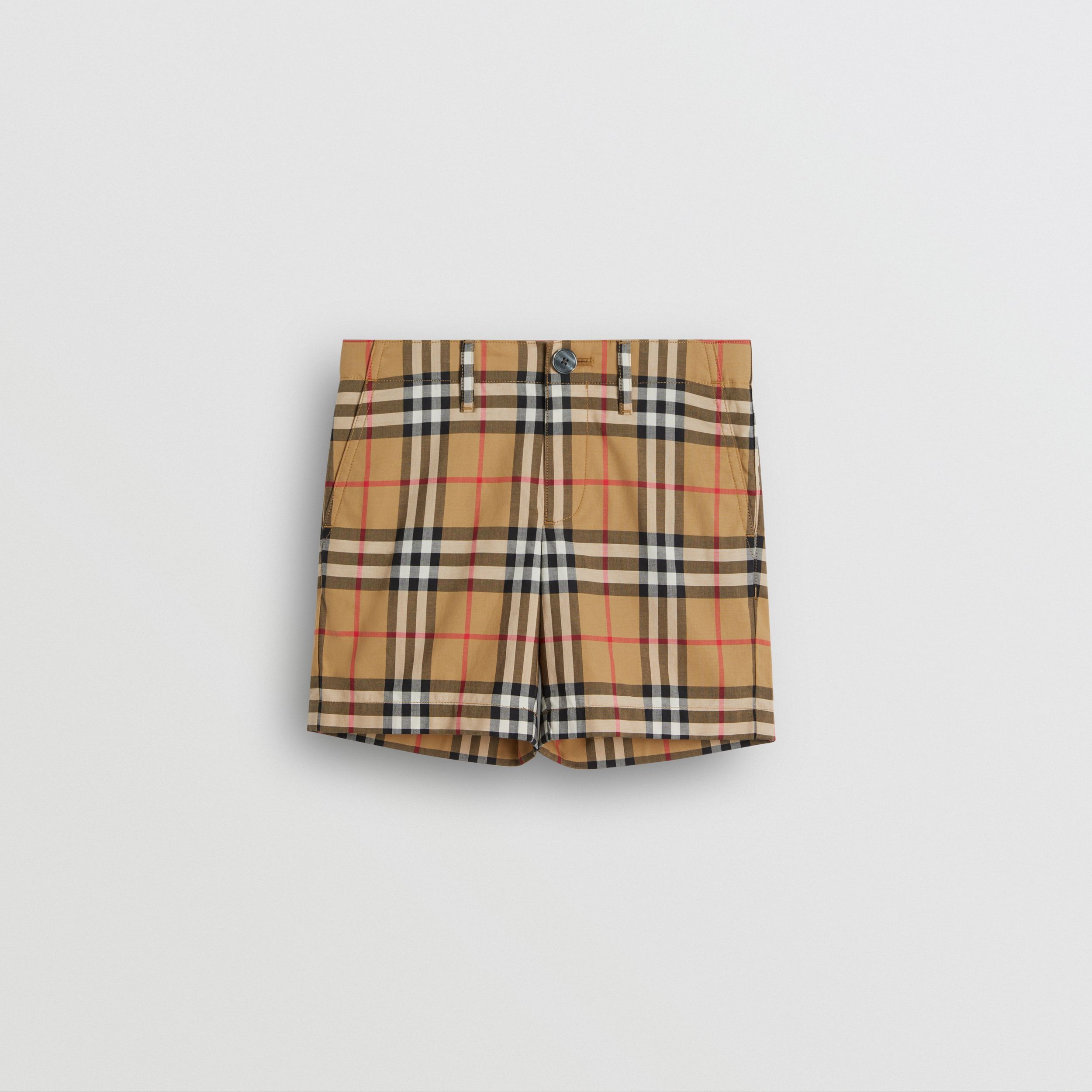 Vintage Check Cotton Tailored Shorts in Antique Yellow | Burberry - 1