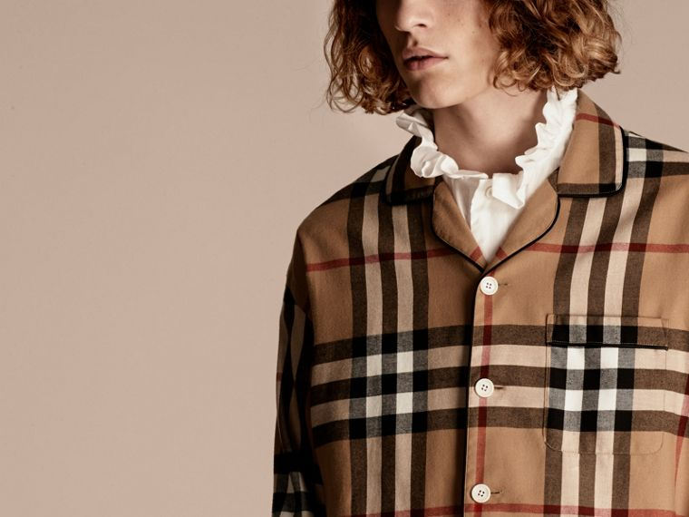 Camel Check Cotton Flannel Pyjama-style Shirt - cell image 4