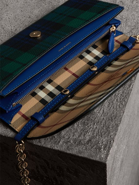 Creature Appliqué Tartan Leather Wallet with Chain in Bright Navy - Women | Burberry - cell image 3