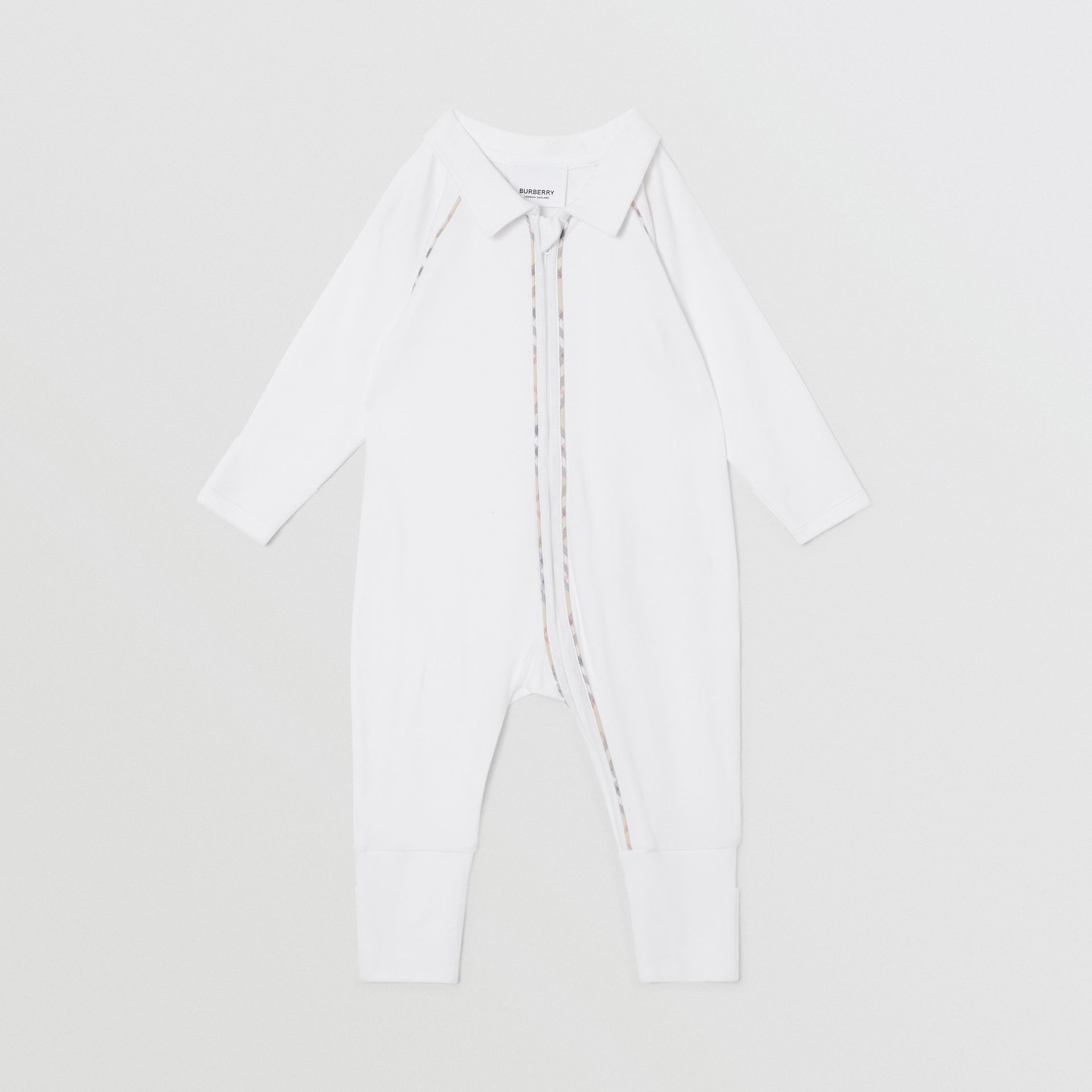 Check Trim Stretch Cotton Three-piece Baby Gift Set in White - Children | Burberry - gallery image 3