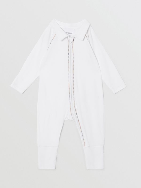 Check Trim Stretch Cotton Three-piece Baby Gift Set in White - Children | Burberry - cell image 3
