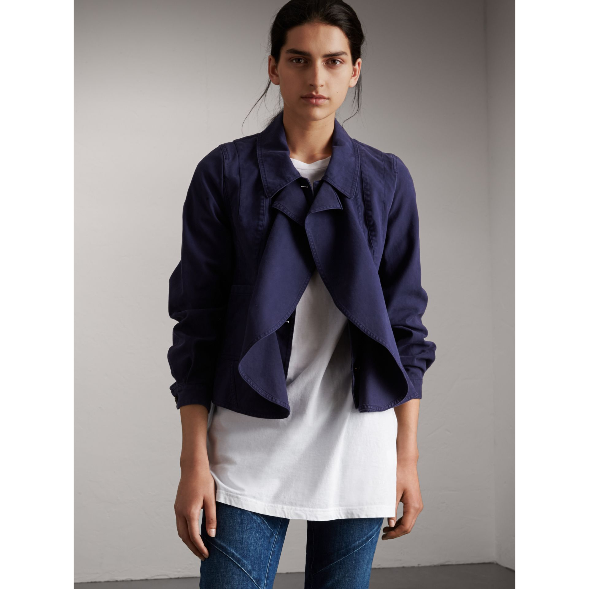 Draped Cotton Utility Jacket in Bright Indigo - Women | Burberry - gallery image 6
