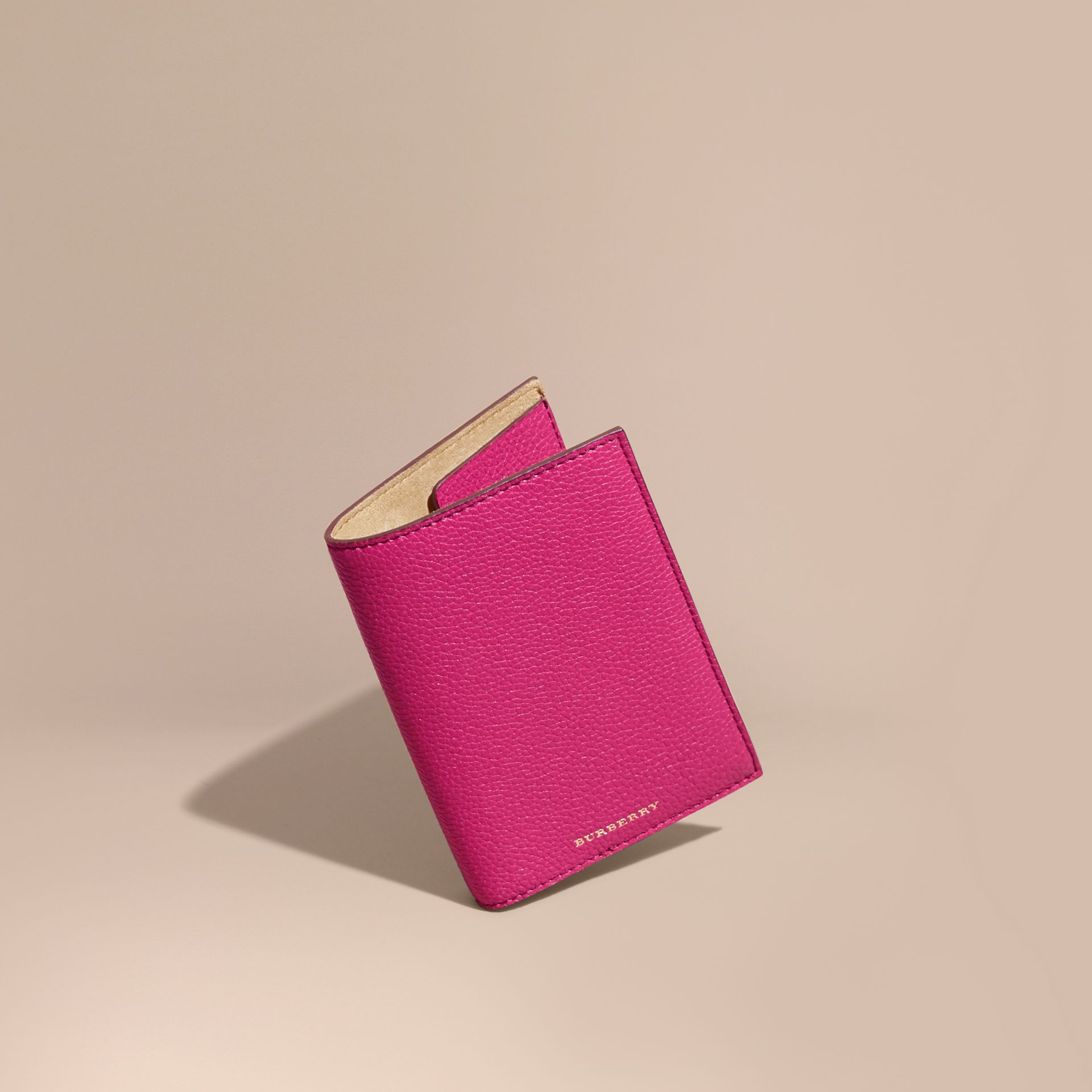Grainy Leather Passport Holder in Brilliant Fuchsia - Women | Burberry - gallery image 1