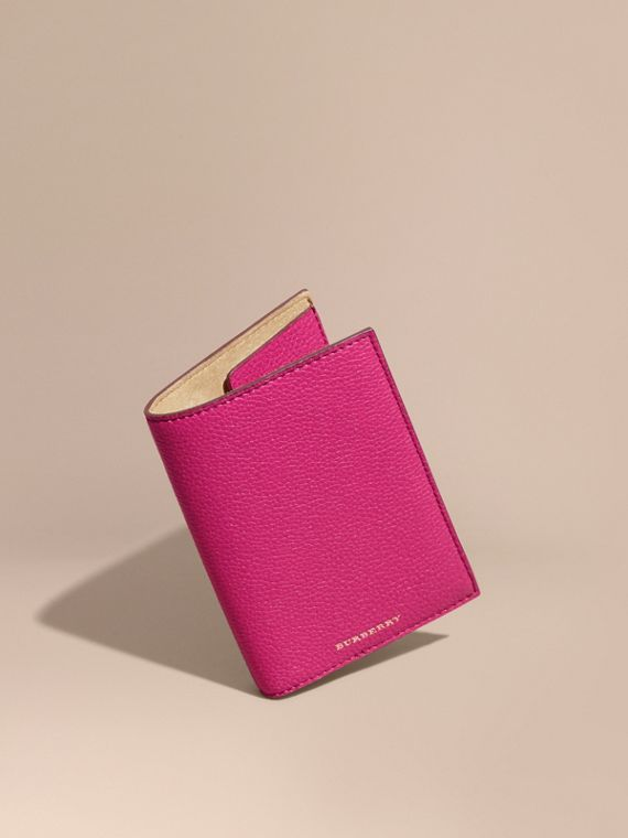 Grainy Leather Passport Holder in Brilliant Fuchsia