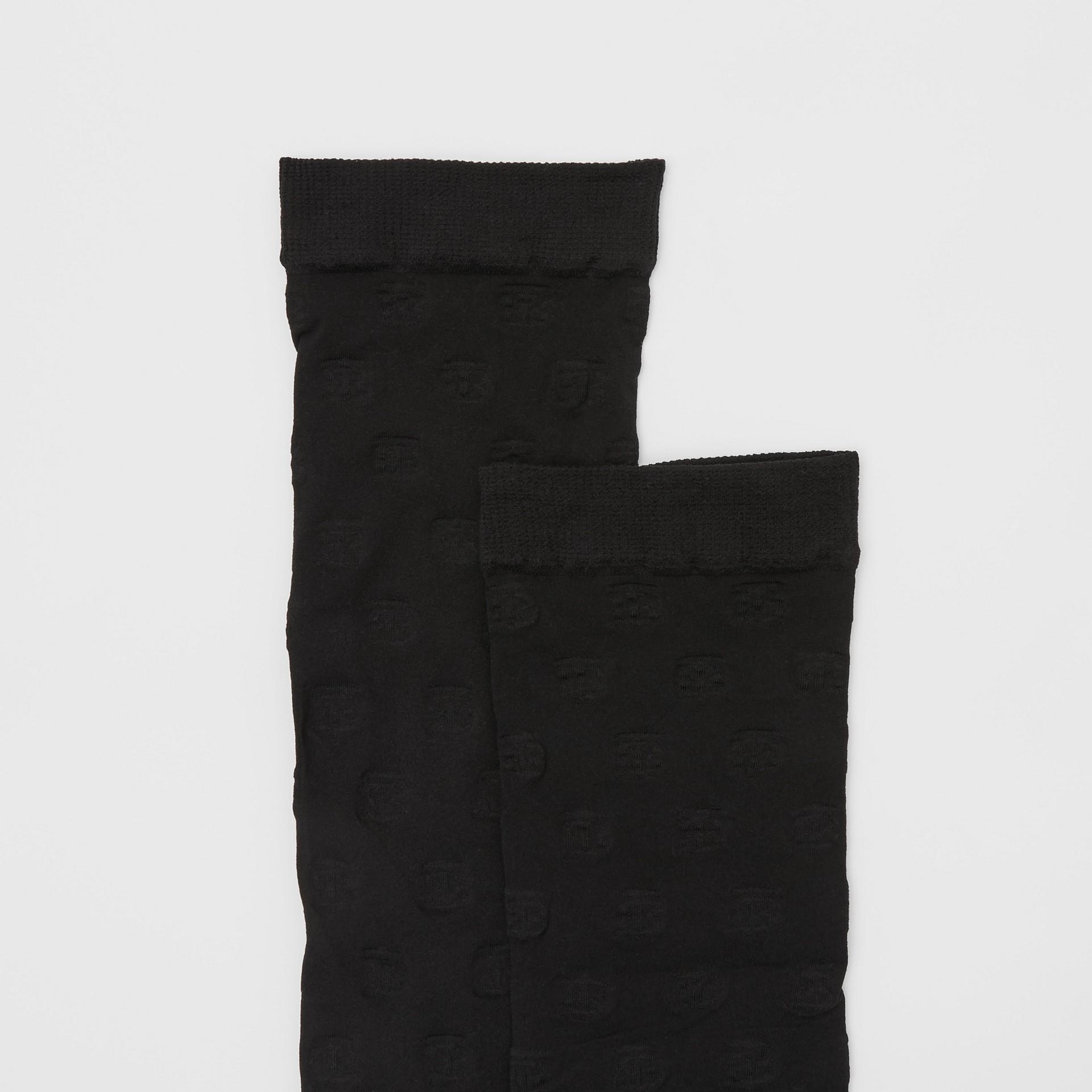 Monogram Motif Socks in Black - Women | Burberry - gallery image 1