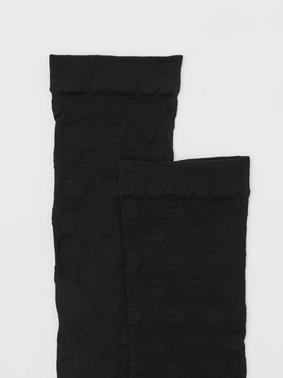Monogram Motif Socks in Black - Women | Burberry - cell image 1