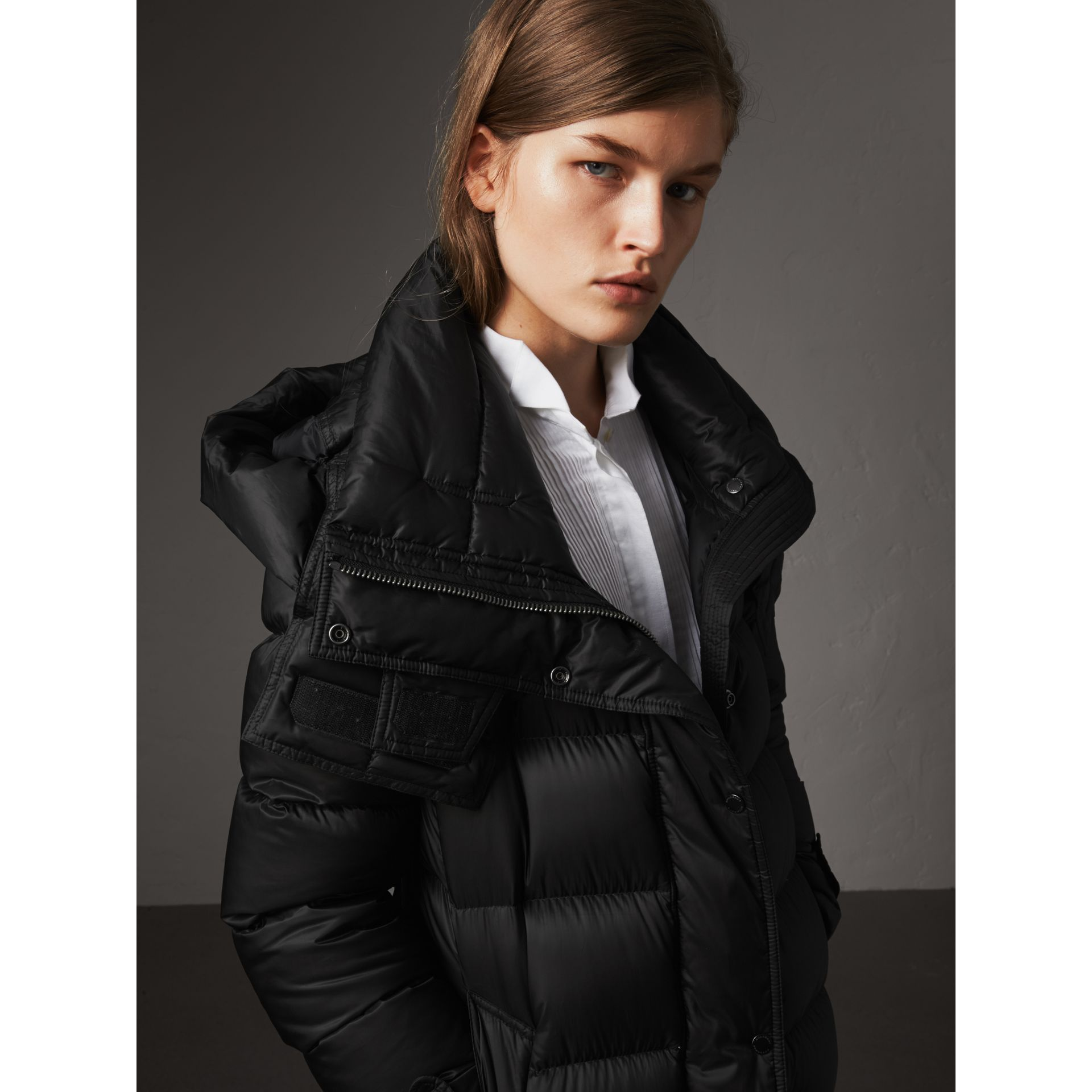 Detachable Hood Long Down-filled Puffer Coat in Black - Women | Burberry Australia - gallery image 2