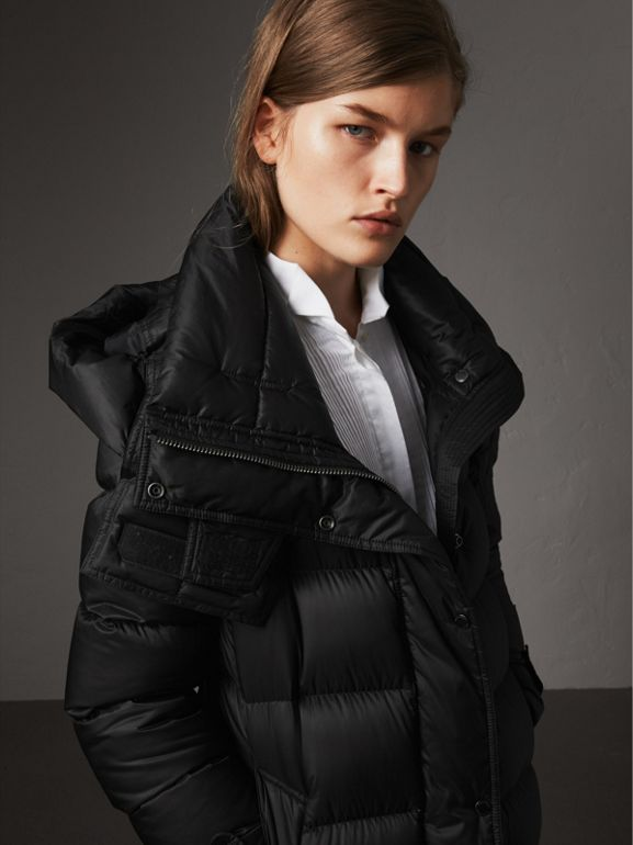 Detachable Hood Long Down-filled Puffer Coat in Black - Women | Burberry - cell image 1