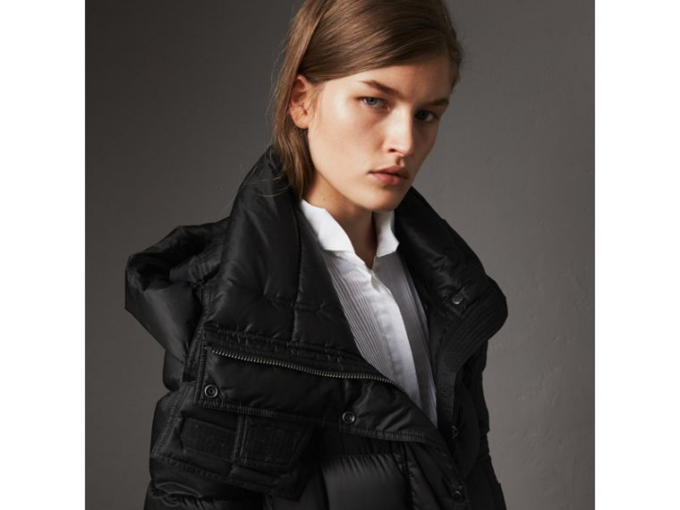 Detachable Hood Long Down-filled Puffer Coat in Black - Women | Burberry Australia - cell image 1