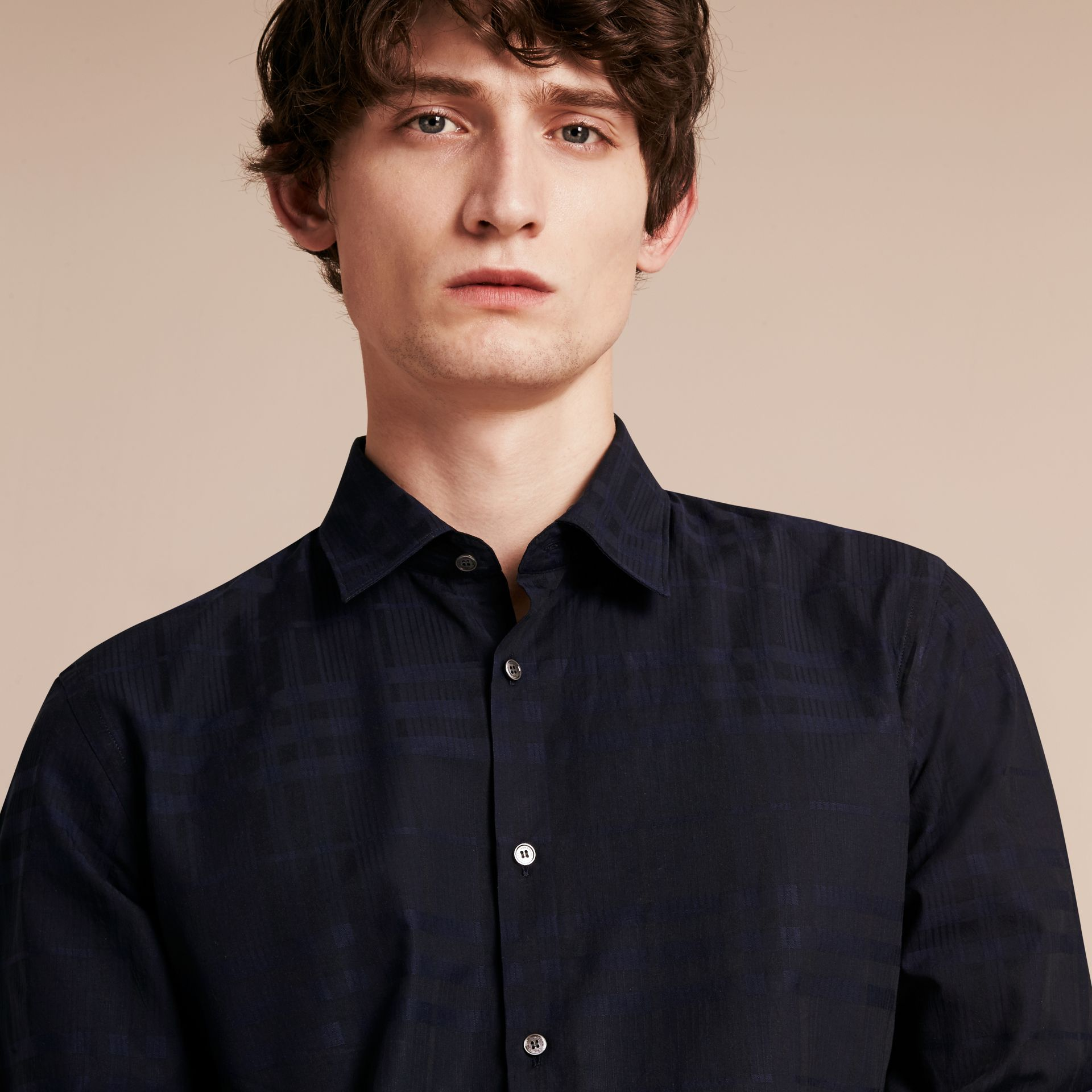 Navy Check Jacquard Cotton Shirt Navy - gallery image 5