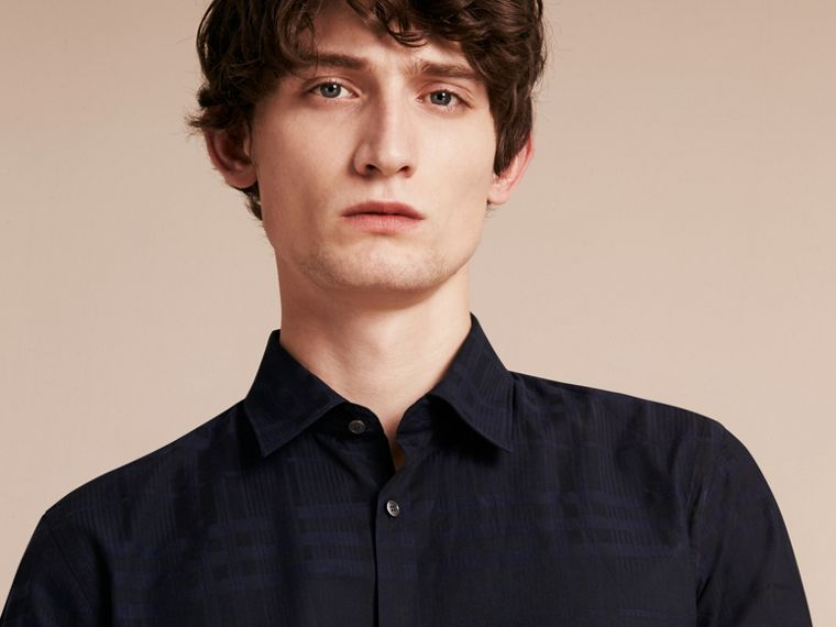 Navy Check Jacquard Cotton Shirt Navy - cell image 4