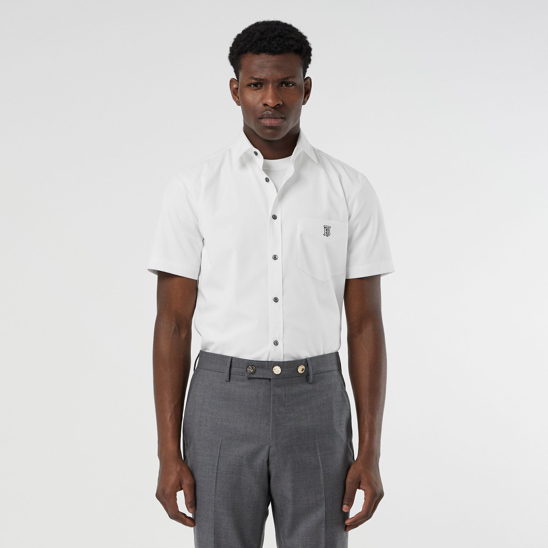 Short-sleeve Monogram Motif Stretch Cotton Shirt in White - Men | Burberry Canada - gallery image 4