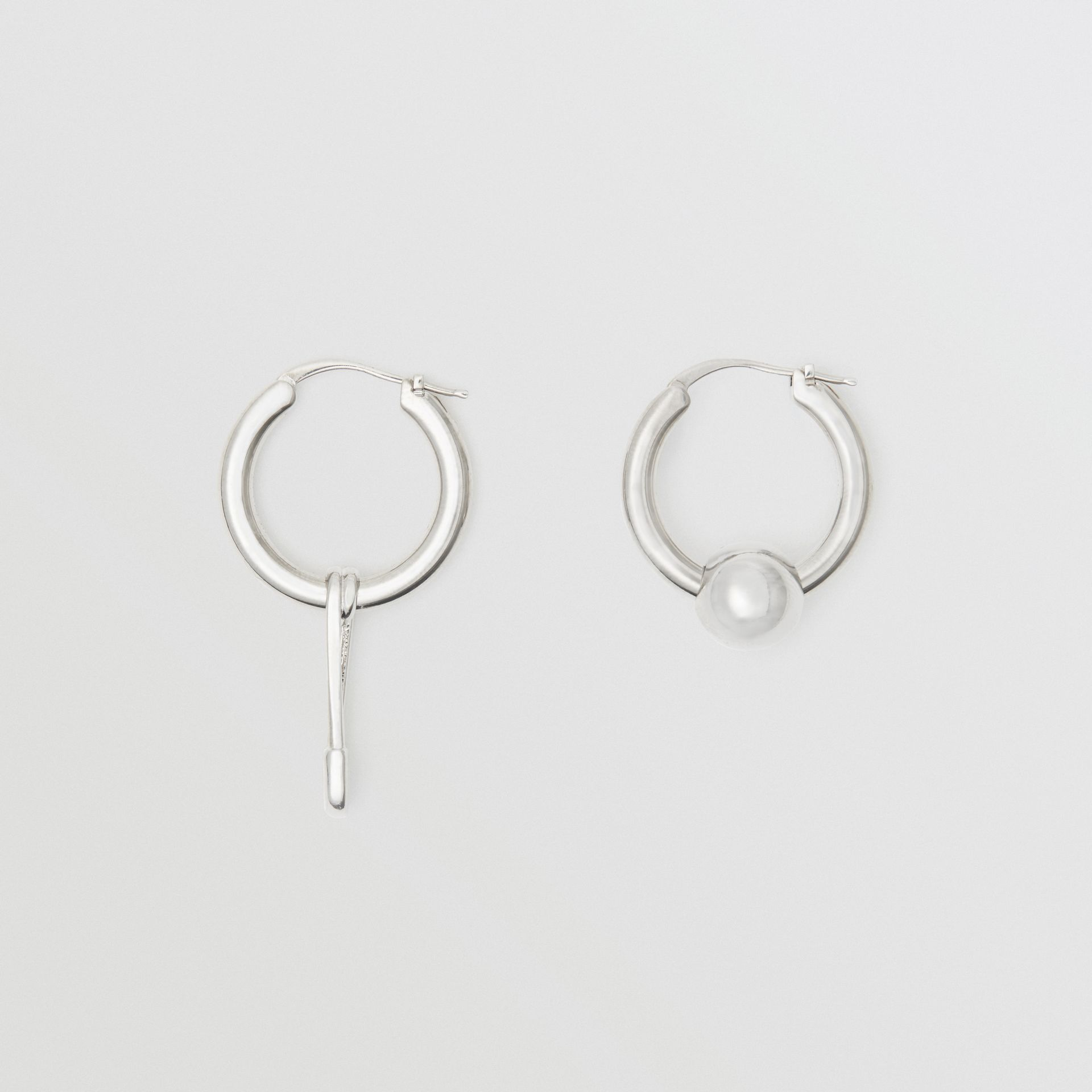 Kilt Pin and Charm Palladium-plated Hoop Earrings in Palladio - Women | Burberry - gallery image 0