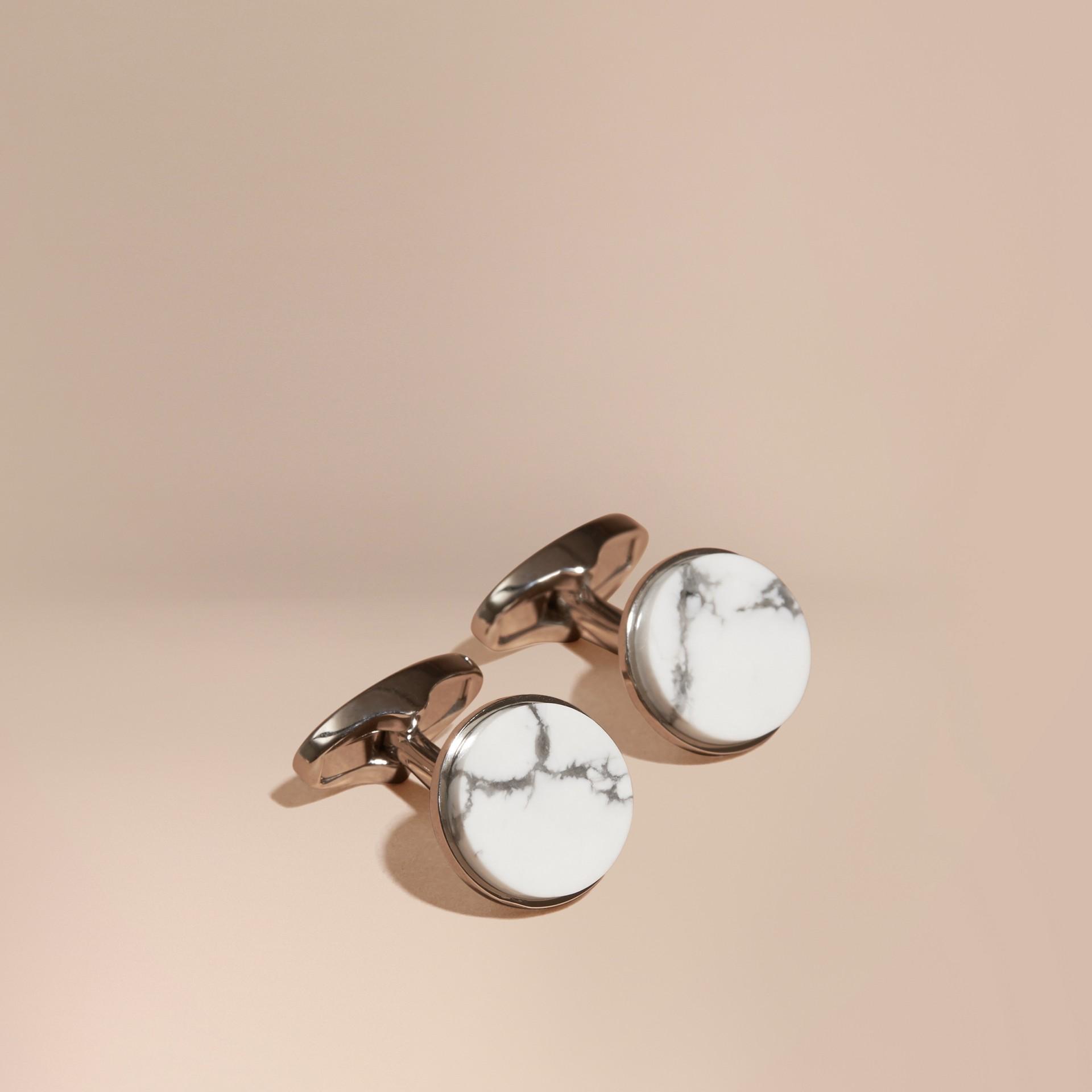 Bianco Gemelli tondi con pietra howlite - immagine della galleria 1