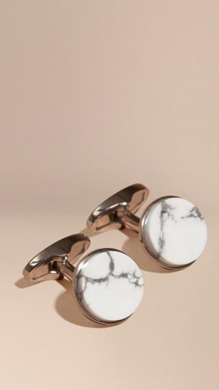 Howlite Stone Round Cufflinks