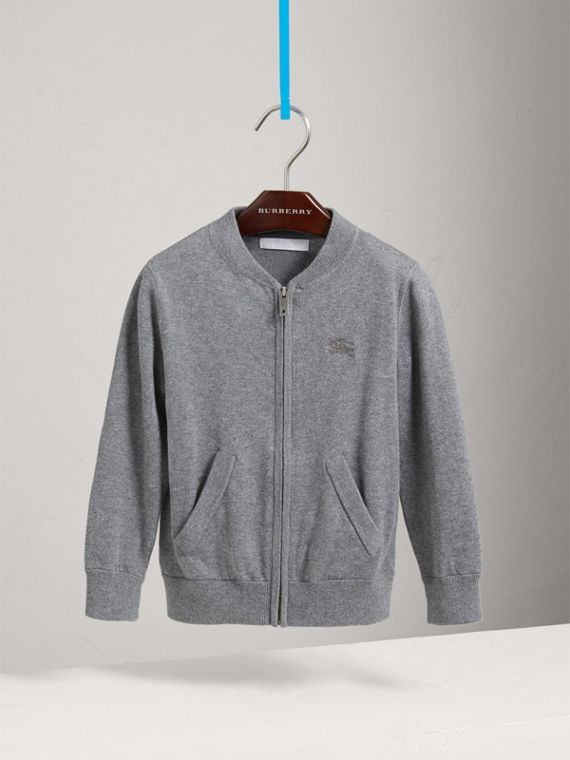 Check Elbow Patch Bomber Cardigan in Mid Grey Melange