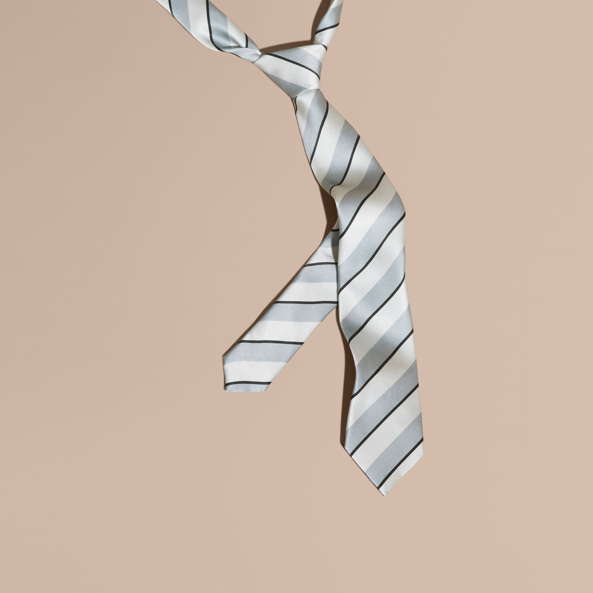 Slim Cut Pyjama Stripe Silk Cotton Tie in Light Blue - Men | Burberry - gallery image 1
