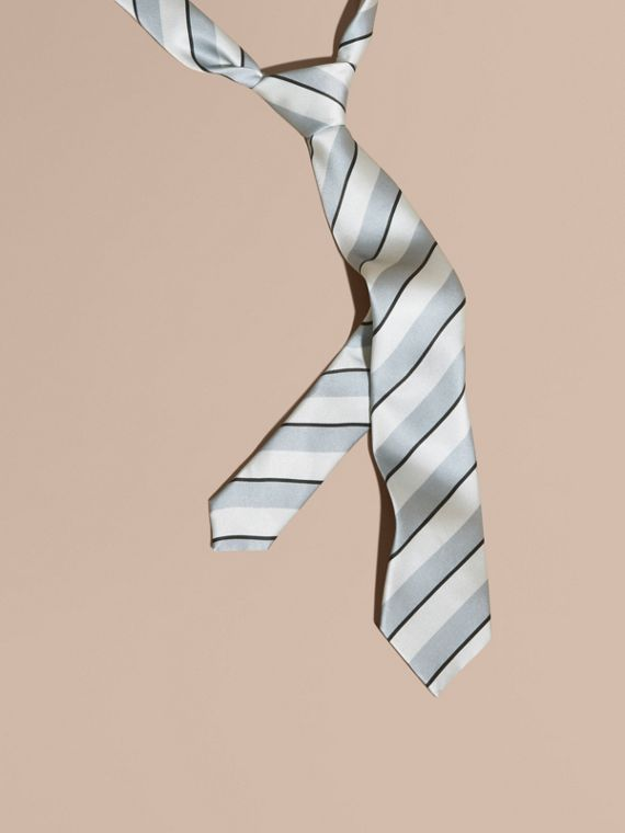 Slim Cut Pyjama Stripe Silk Cotton Tie Light Blue