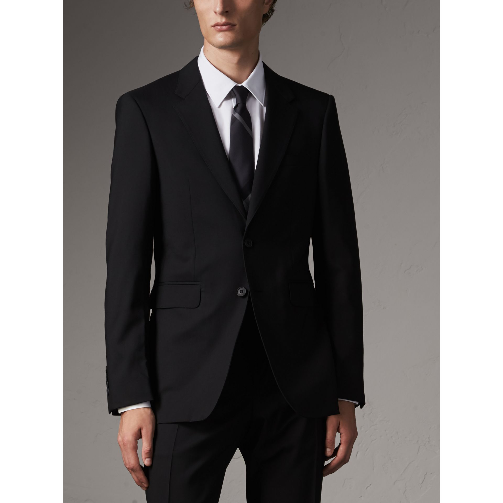 Modern Fit Wool Part-canvas Suit in Black - Men | Burberry United Kingdom - gallery image 7