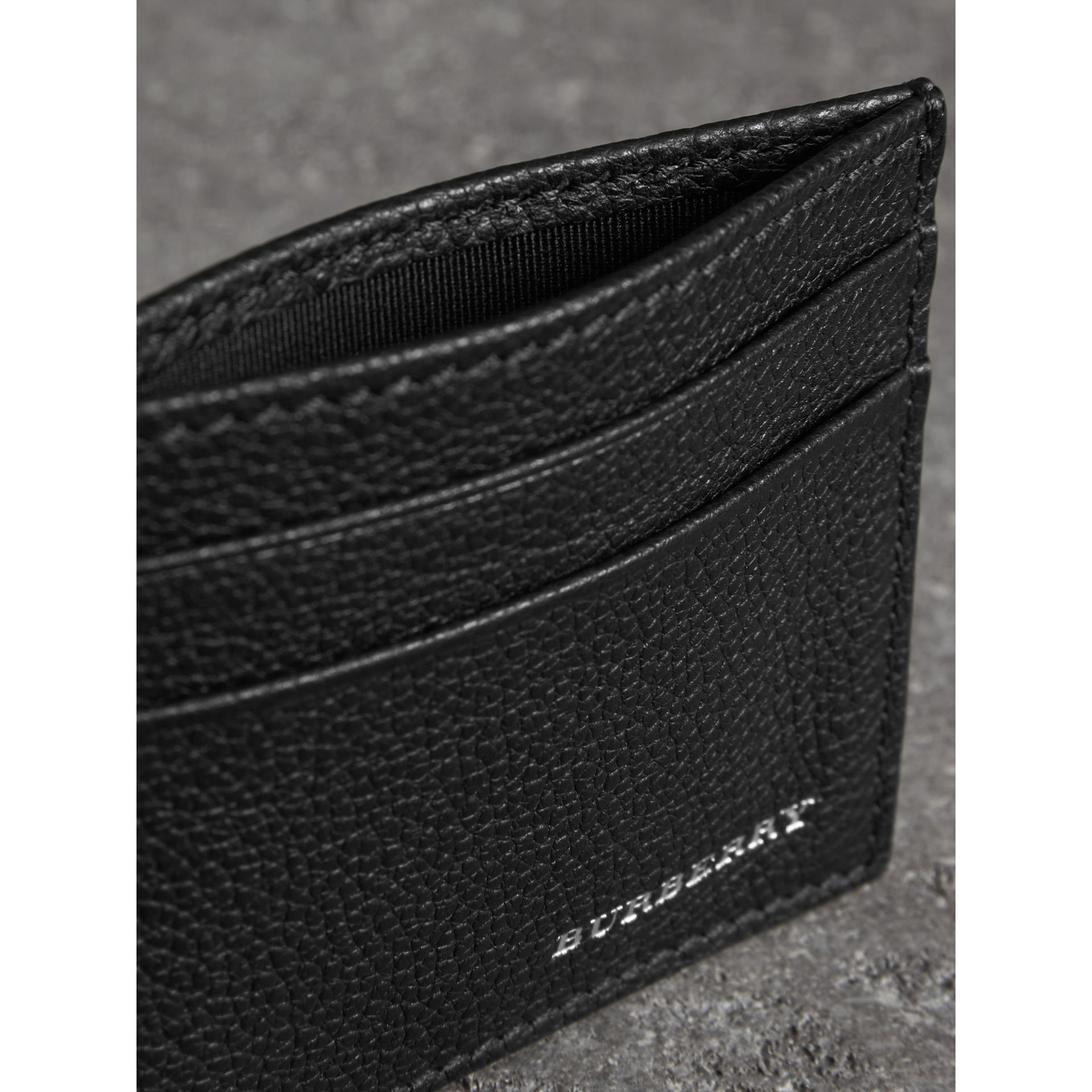 Grainy Leather Card Case in Black | Burberry Singapore - gallery image 3