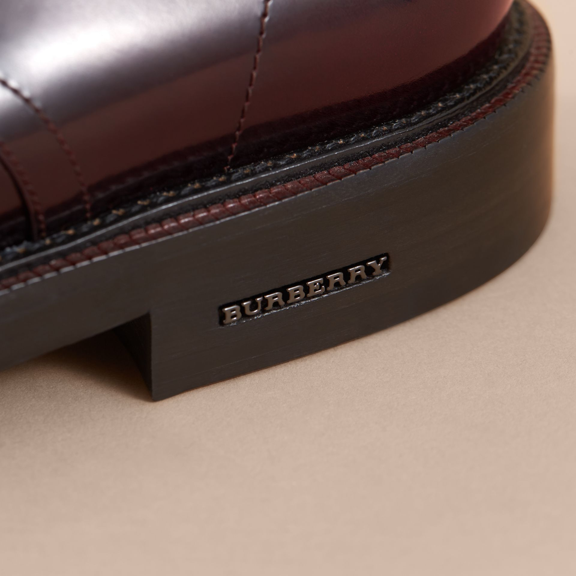 Polished Leather Derby Shoes in Rust Red - Men | Burberry Singapore - gallery image 1