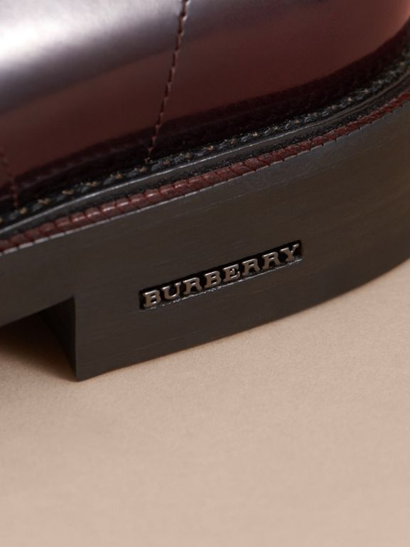 Polished Leather Derby Shoes in Rust Red - Men | Burberry Australia - cell image 1