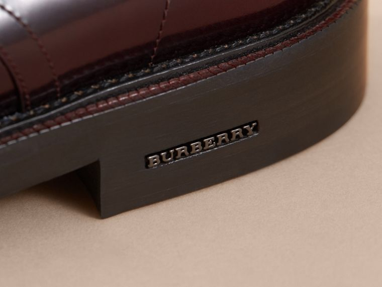 Polished Leather Derby Shoes in Rust Red - Men | Burberry - cell image 1