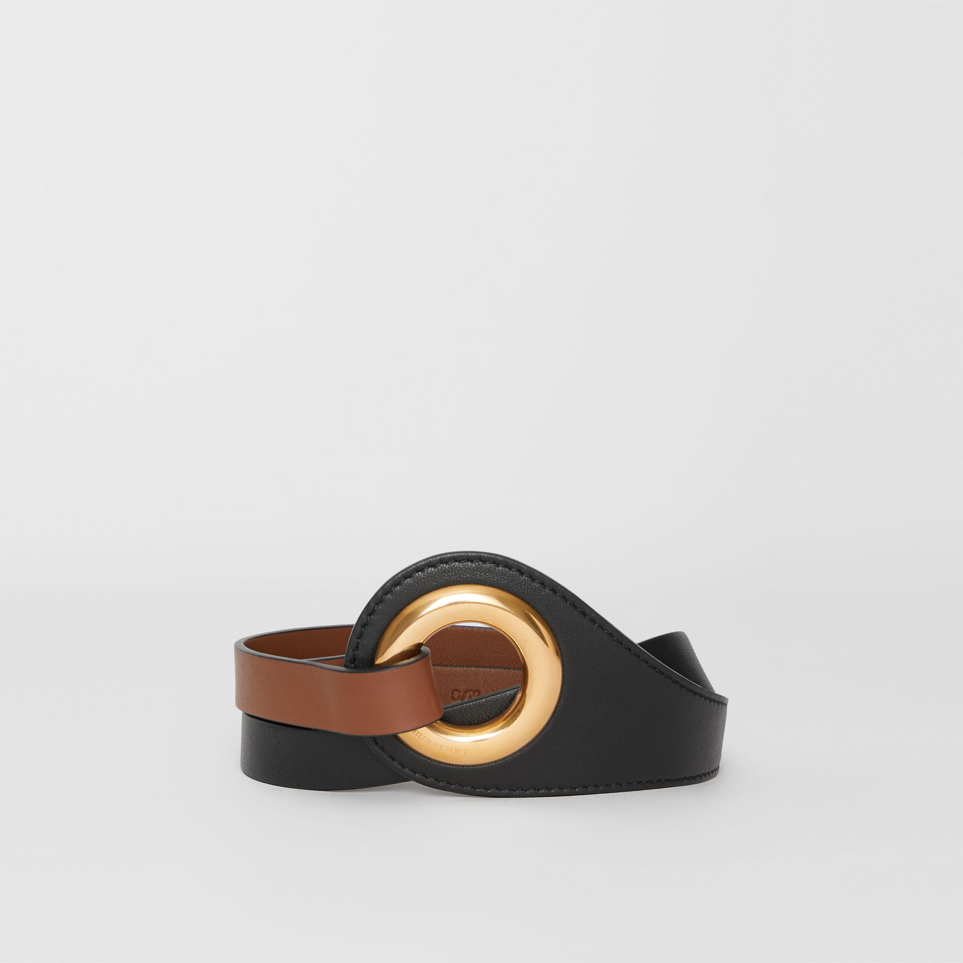 Grommet Detail Lambskin Waist Belt in Tan/black - Women | Burberry - gallery image 0